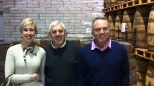 A visit to the maturing warehouses - Cathrina and Thomas pictured with Ger Buckley