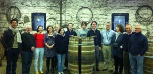 Ger Buckley, Master Cooper and Brian Nation, Whiskey Distiller, pictured with the Ballymaloe team in the Midleton Cooperage