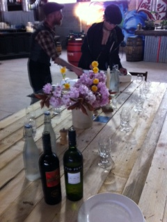 Setting up for Sherry & Tapas in Big Shed