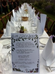 Menu and table set-up