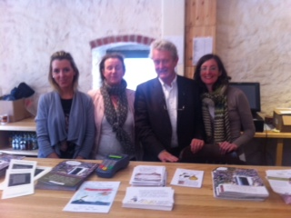 John Bowman with the box office crew - Nicola, Aoife and Ka