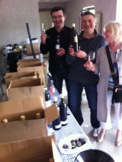 Maurice, Pascal and Geraldine checking the wines for Wine Grapes with Jancis Robinson MW